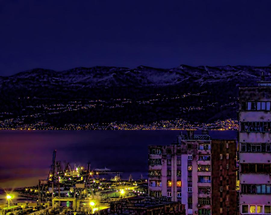 Istrian Riviera At Night Photograph