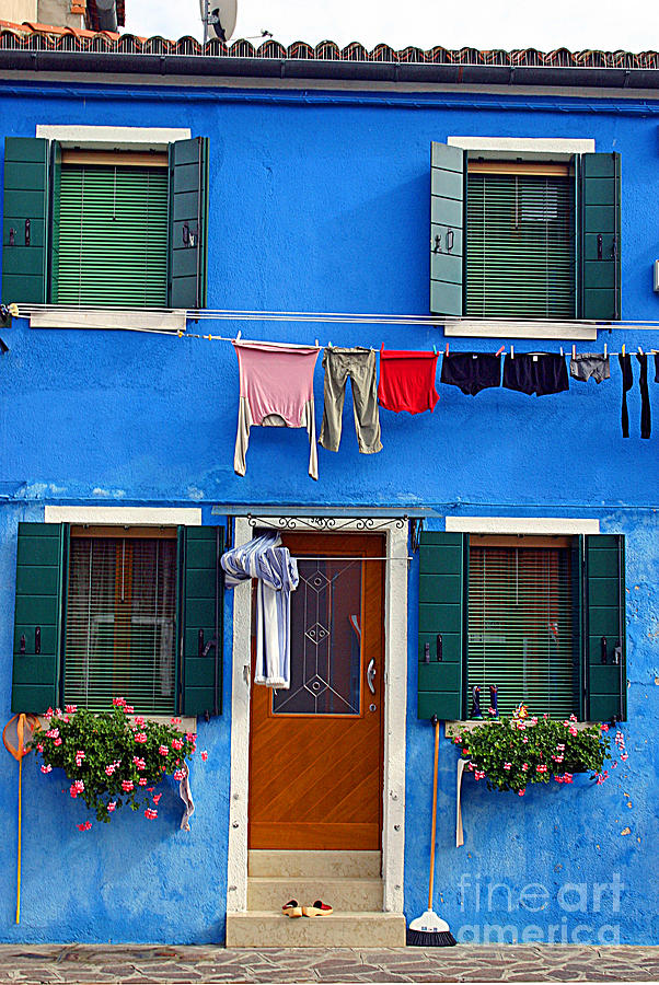 It0011 Burano Italy Blue House Photograph  - It0011 Burano Italy Blue House Fine Art Print