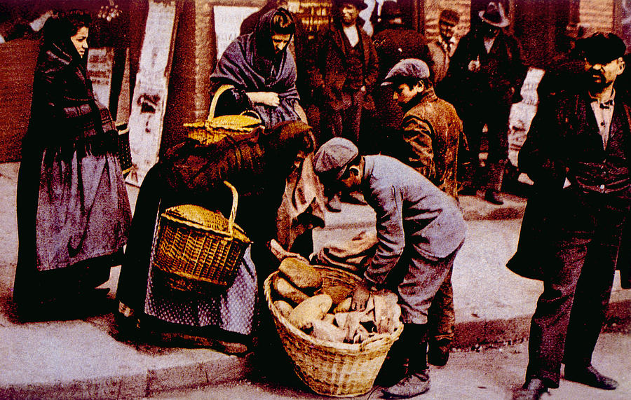 Italian Immigrants Selling Bread Photograph