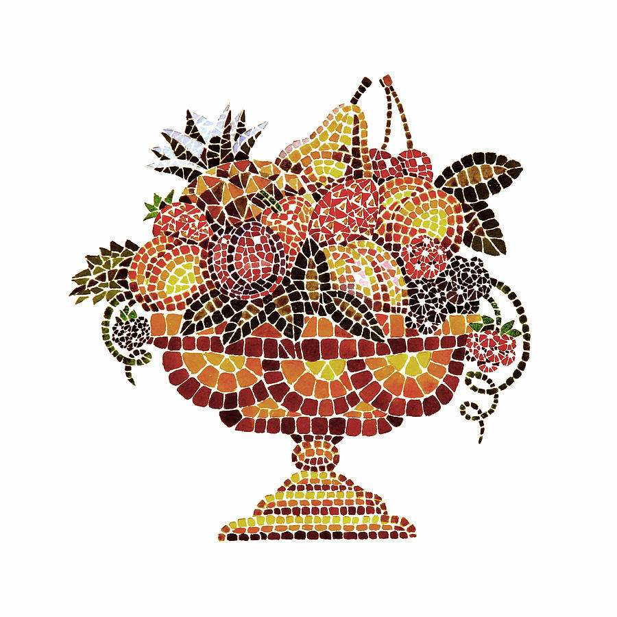 Italian Mosaic Vase With Fruits Painting