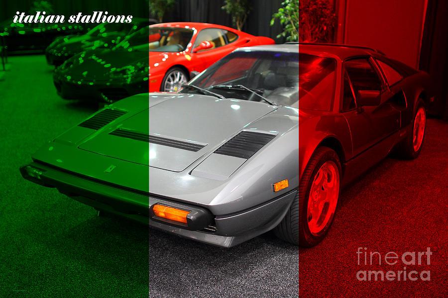 Italian Stallions . 1984 Ferrari 308 Gts Qv Photograph