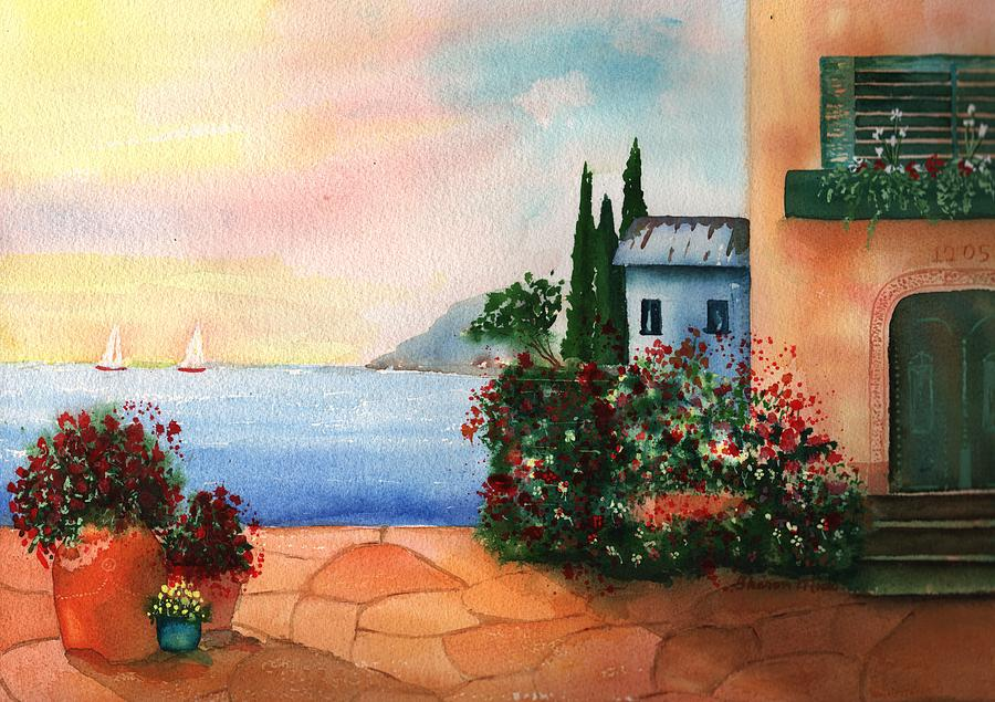 Italian Sunset Villa By The Sea Painting  - Italian Sunset Villa By The Sea Fine Art Print