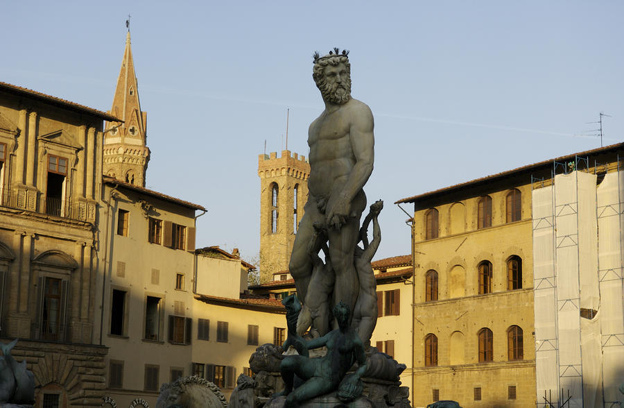 Italy, Florence, Neptune Fountain Photograph