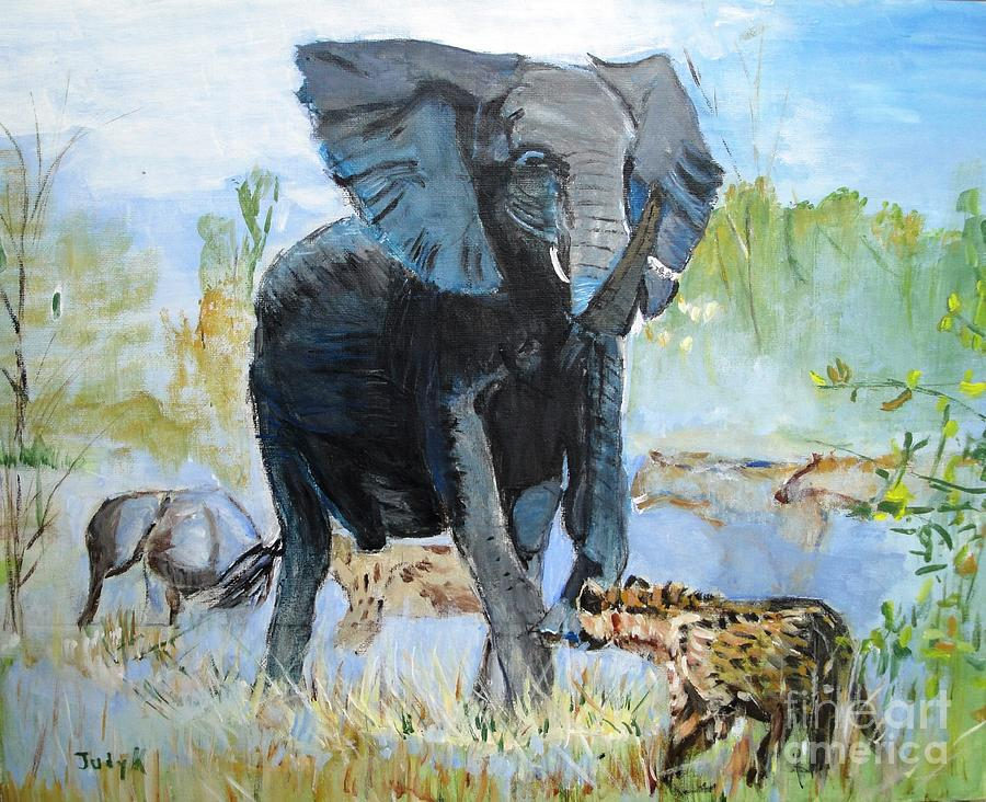 Elephants Painting - Its A Jungle by Judy Kay