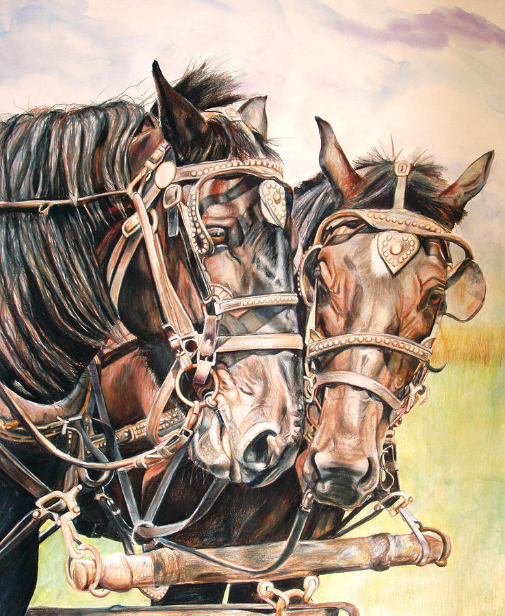 Jack And Joe Hard Workin Horses Painting  - Jack And Joe Hard Workin Horses Fine Art Print