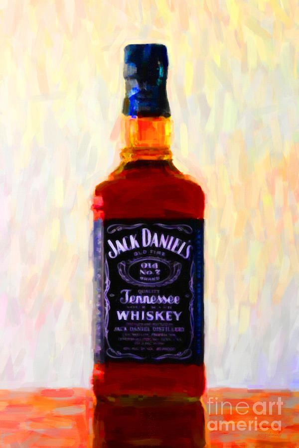 Jack Daniels Tennessee Whiskey 80 Proof - Version 1 - Painterly Photograph  - Jack Daniels Tennessee Whiskey 80 Proof - Version 1 - Painterly Fine Art Print