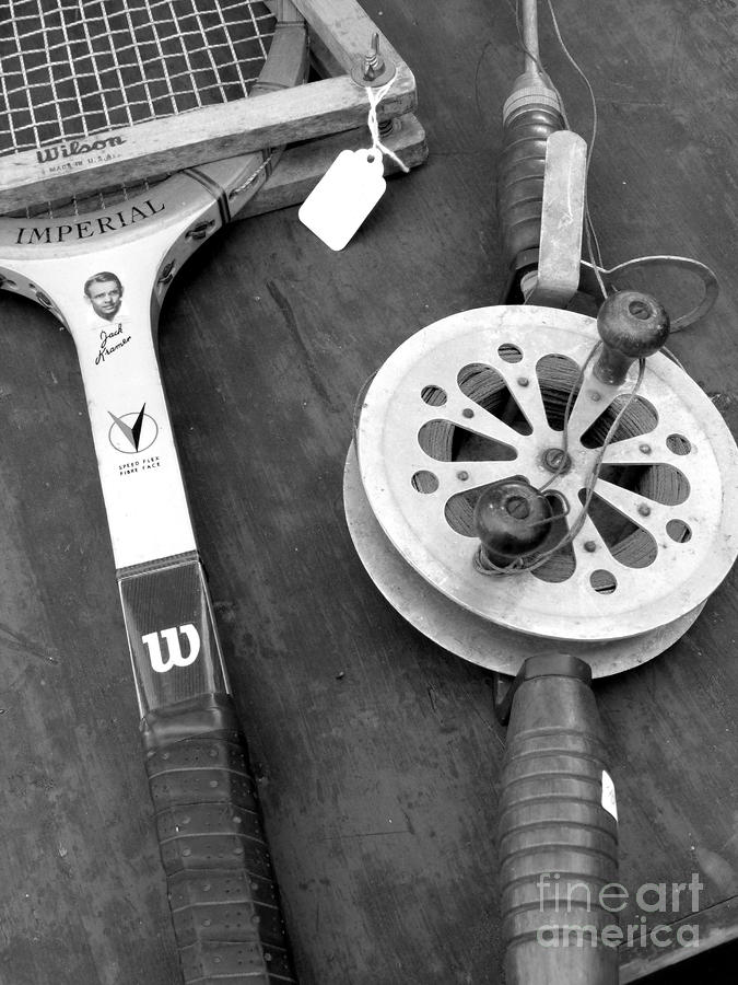 Jack Kramer Wood Racket And Ancient Rod And Reel Photograph  - Jack Kramer Wood Racket And Ancient Rod And Reel Fine Art Print