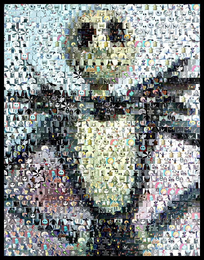 Jack Skellington Mosaic Digital Art  - Jack Skellington Mosaic Fine Art Print