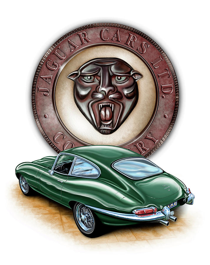Jaguar Xke British Racing Green Painting  - Jaguar Xke British Racing Green Fine Art Print