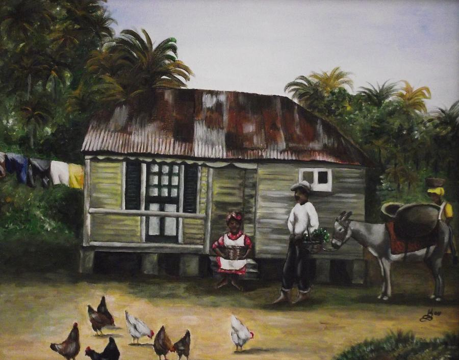 Jamaican Homestead Painting  - Jamaican Homestead Fine Art Print