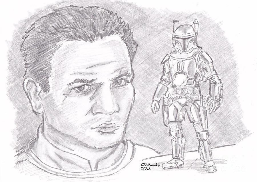 Drawing - Jango Fett by Chris  DelVecchio
