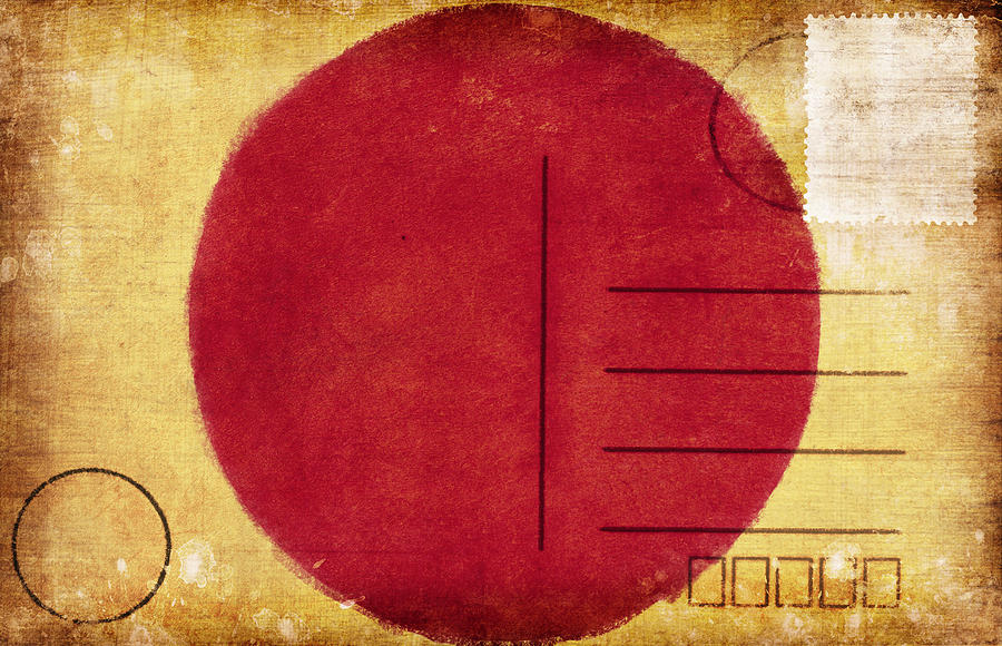 Japan Flag Postcard Photograph  - Japan Flag Postcard Fine Art Print