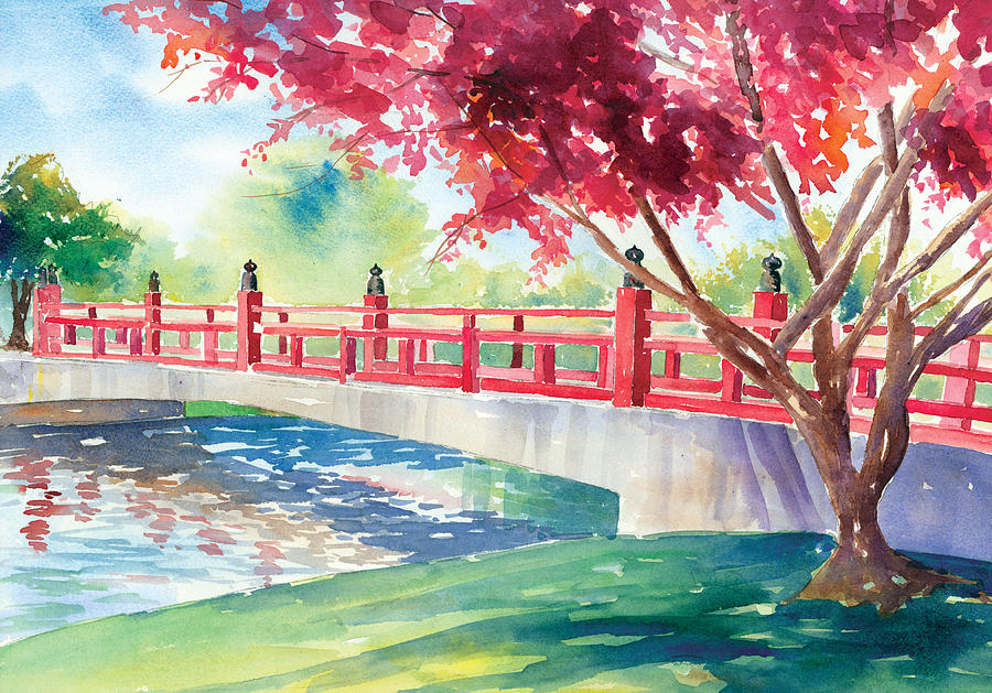 Japanese Bridge Painting  - Japanese Bridge Fine Art Print