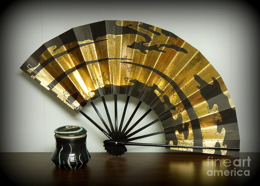 Japanese Fan And Pot Photograph  - Japanese Fan And Pot Fine Art Print
