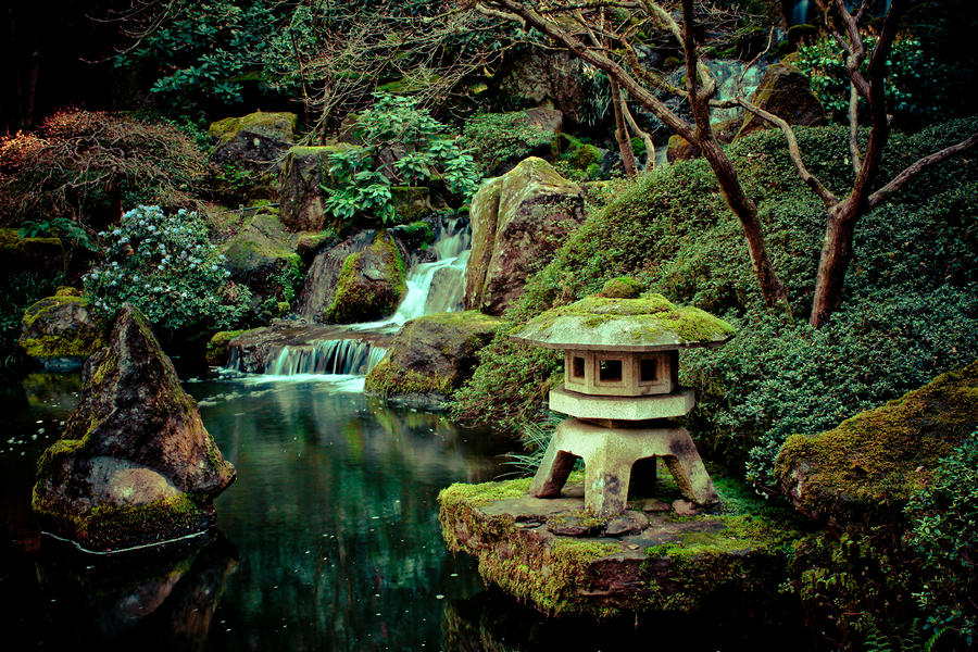Japanese Garden Lamp And Waterfall Photograph Japanese