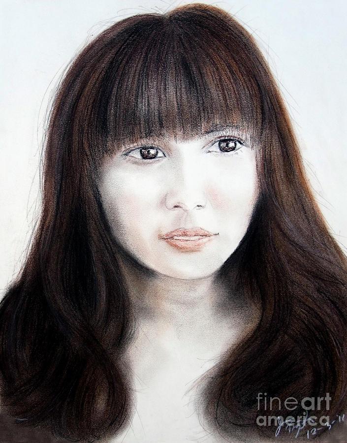 Japanese Girl With Bangs Drawing