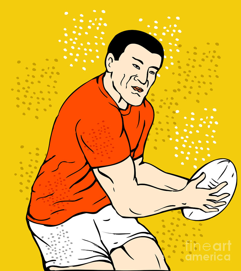 Japanese Rugby Player Passing Ball Digital Art