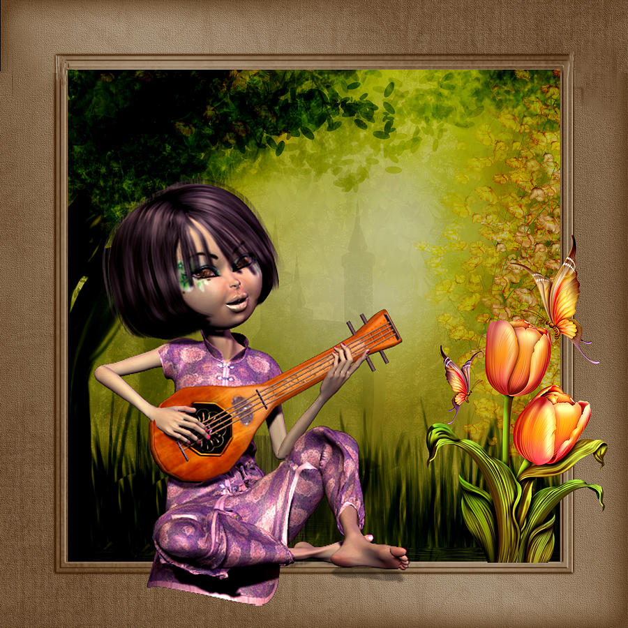 Japanese Woman Playing The Lute Digital Art  - Japanese Woman Playing The Lute Fine Art Print
