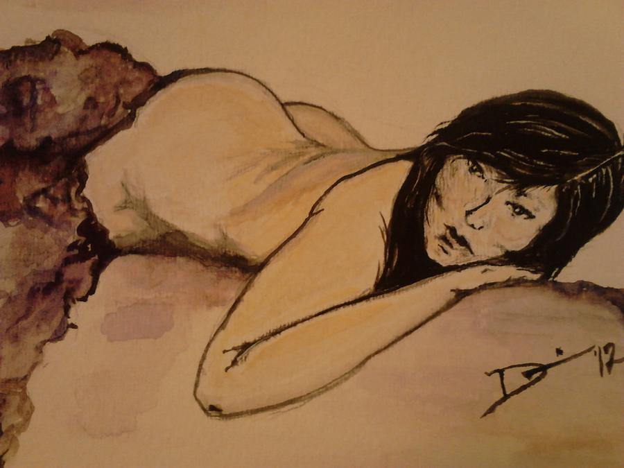 Japanese woman-purple blanket nude Painting - Japanese woman-purple blanket ...