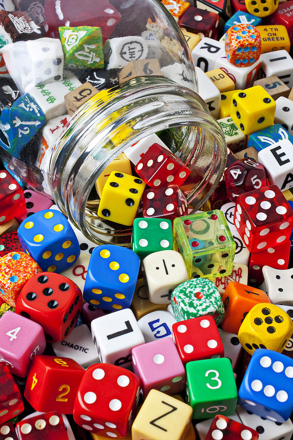 Jar Dice Games Play Numbers Gamble Photograph - Jar Spilling Dice by Garry Gay