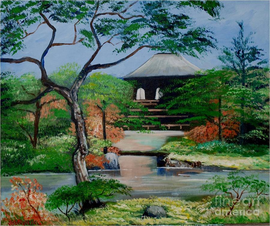 Jardin japonais painting by jean pierre bergoeing for Jardin japonais pierre