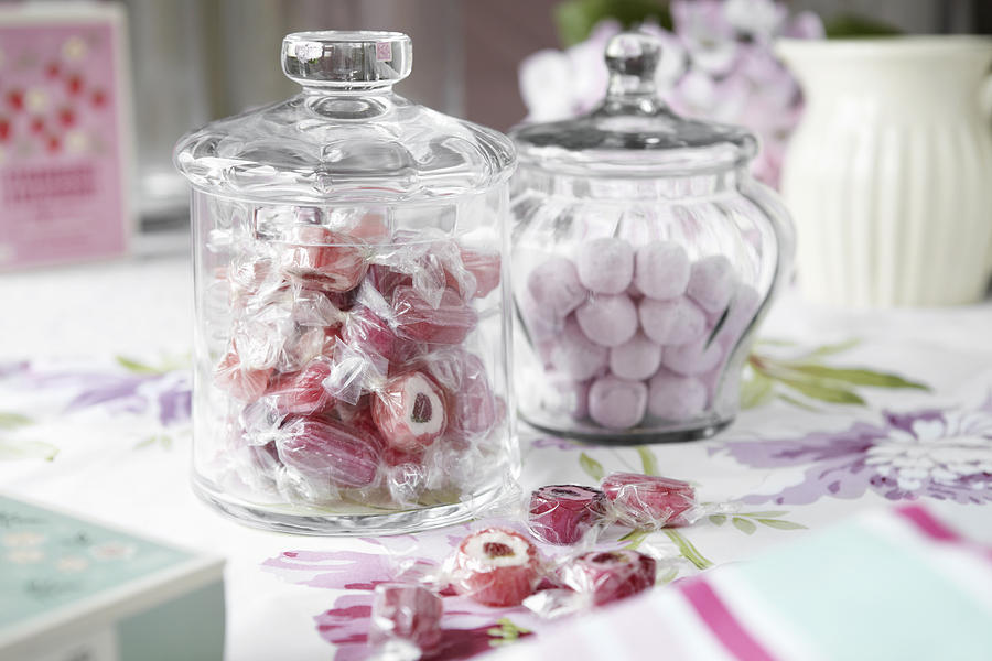 Jars Of Candies On Table Photograph  - Jars Of Candies On Table Fine Art Print