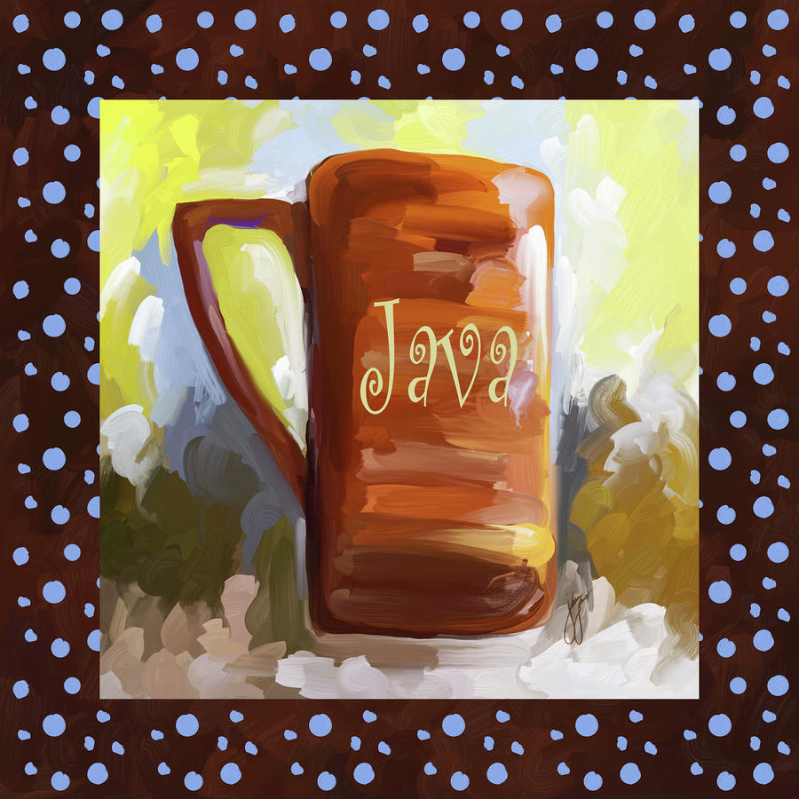 Java Coffee Cup With Blue Dots Painting  - Java Coffee Cup With Blue Dots Fine Art Print