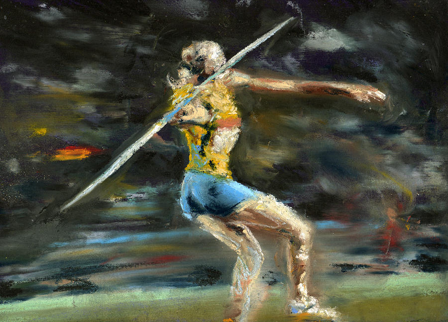 Javelin Thrower Pastel  - Javelin Thrower Fine Art Print