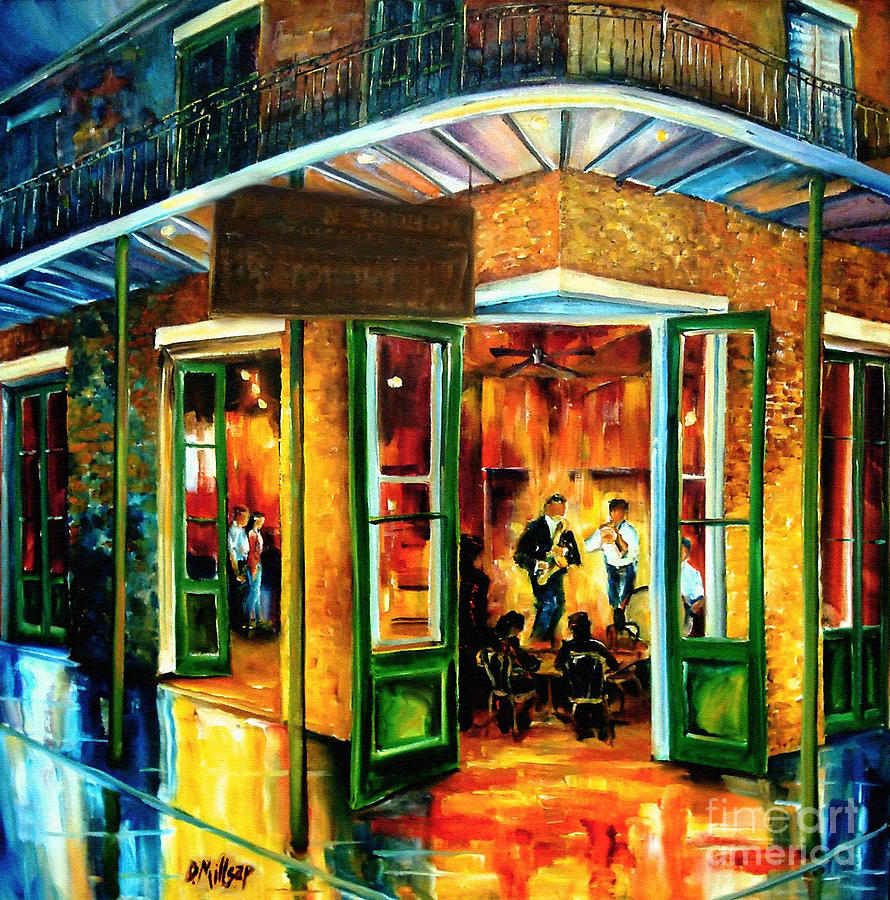 Jazz At The Maison Bourbon Painting  - Jazz At The Maison Bourbon Fine Art Print