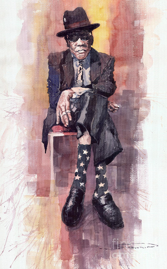Jazz Bluesman John Lee Hooker Painting  - Jazz Bluesman John Lee Hooker Fine Art Print