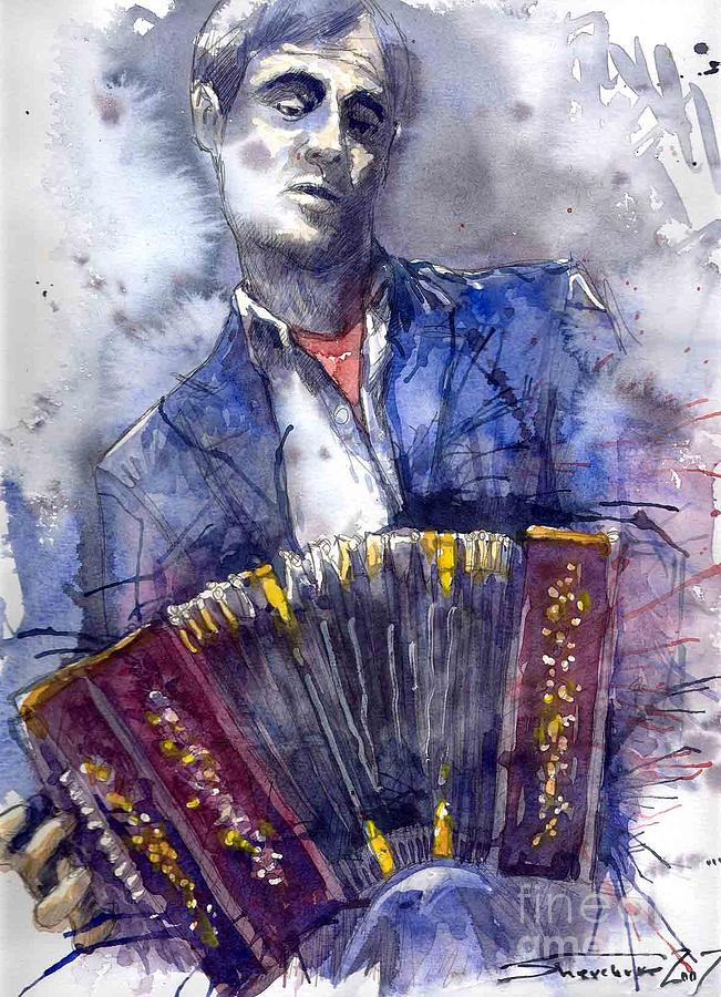 Jazz Concertina Player Painting  - Jazz Concertina Player Fine Art Print