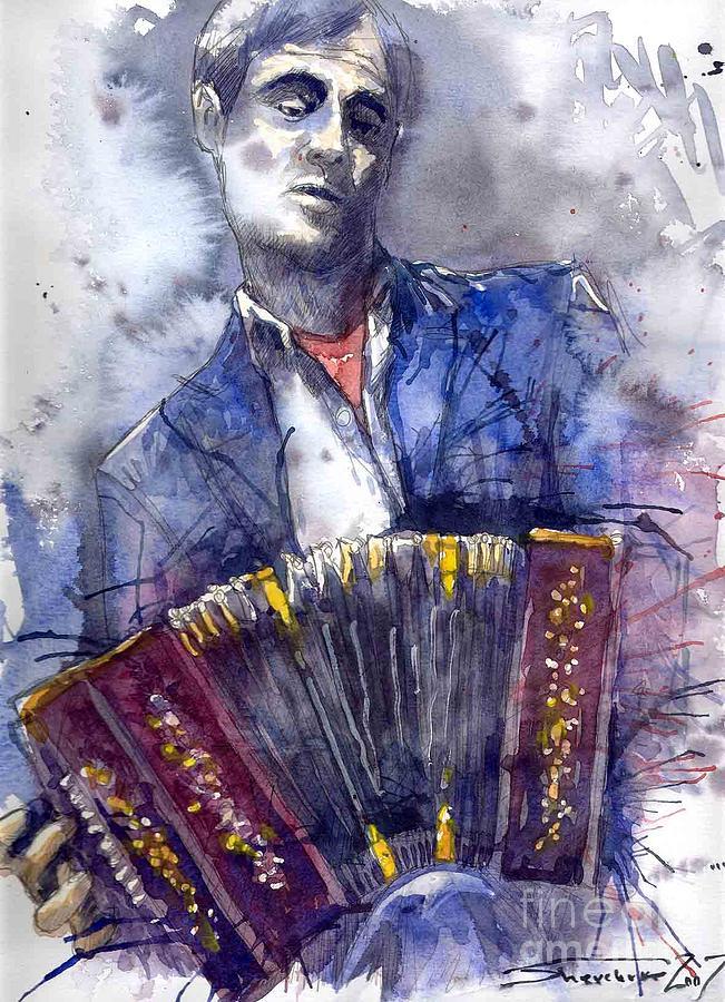 Jazz Concertina Player Painting