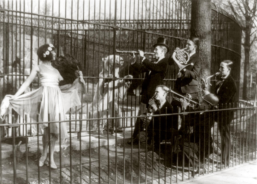 1920s Candid Photograph - Jazz For The Bears, Five Men Playing by Everett