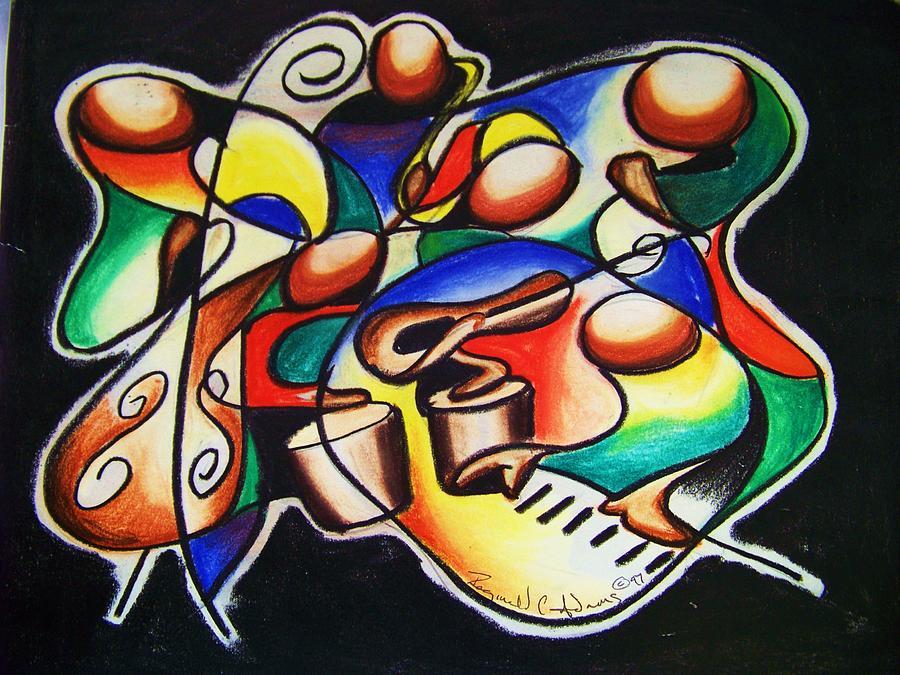 Jazz Drawing - Jazz Fusion by Reginald Charles Adams