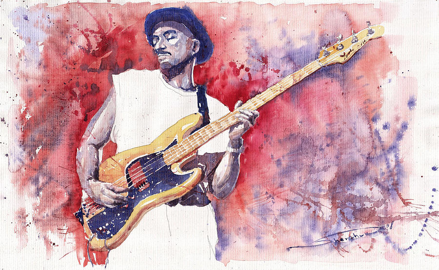 Jazz Guitarist Marcus Miller Red Painting  - Jazz Guitarist Marcus Miller Red Fine Art Print