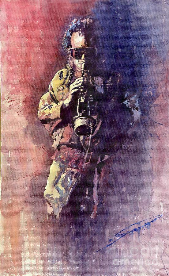 Watercolor Painting - Jazz Miles Davis Maditation by Yuriy  Shevchuk