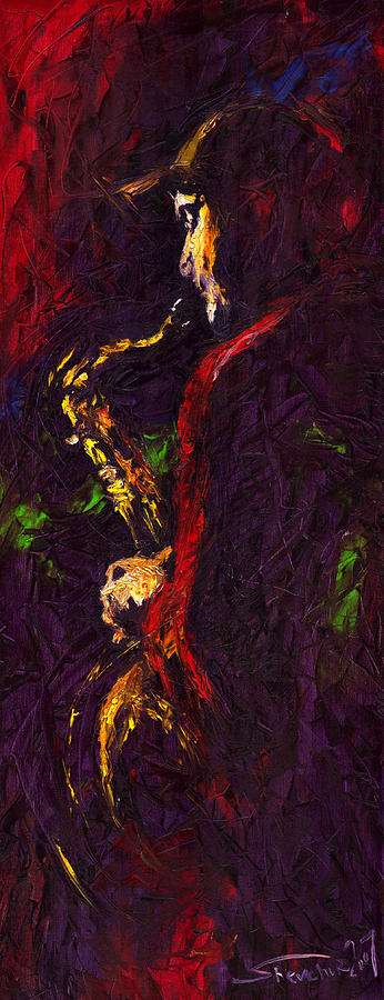 Jazz Red Saxophonist Painting  - Jazz Red Saxophonist Fine Art Print