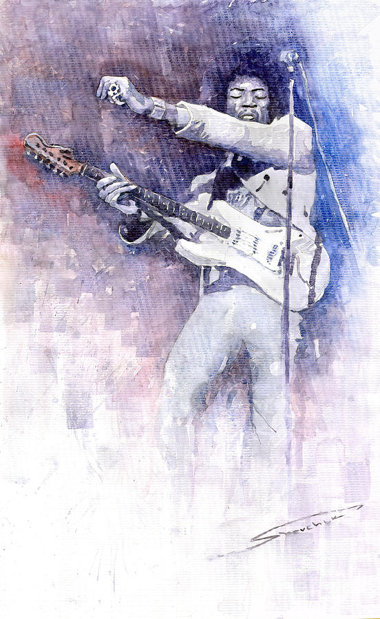 Jazz Rock Jimi Hendrix 07 Painting  - Jazz Rock Jimi Hendrix 07 Fine Art Print