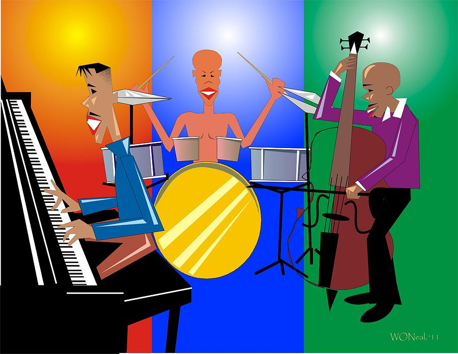 Jazz Trio Digital Art  - Jazz Trio Fine Art Print