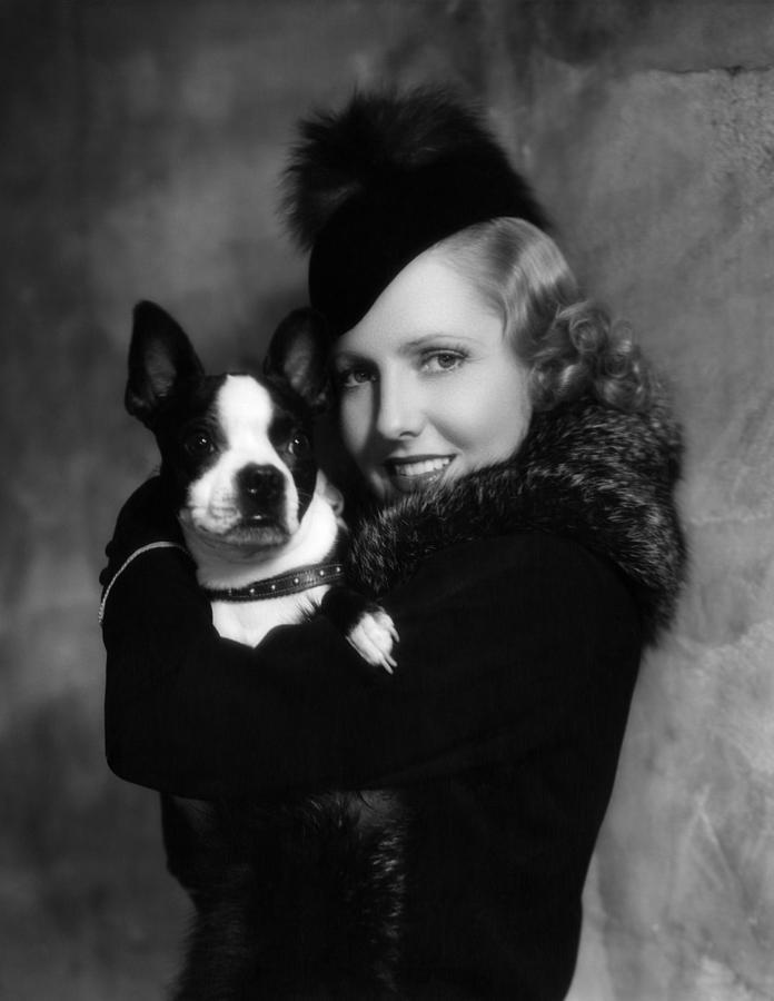 1930s Portraits Photograph - Jean Arthur With Boston Terrier, 1935 by Everett