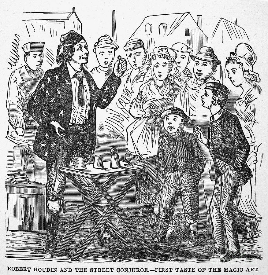 Jean Eugene Robert Houdin (1805-1871). French Magician. Wood Engraving, C1880, From An American Edition Of Houdins Autobiography, Depicting His First Childhood Encounter With A Street Magician Photograph