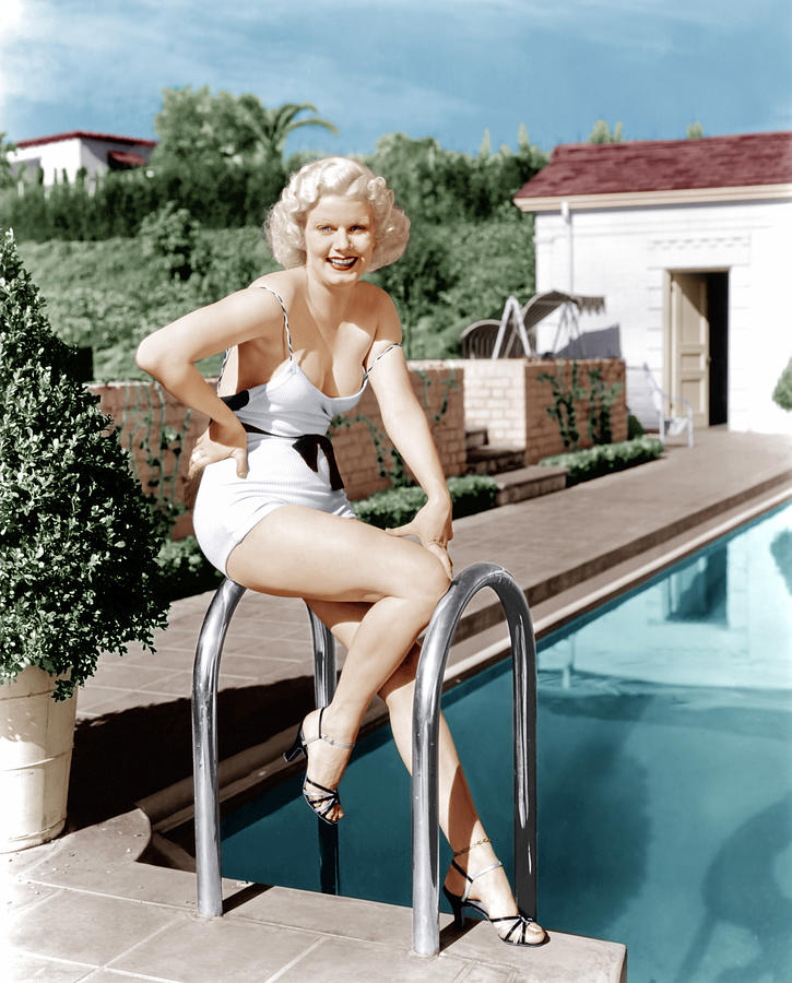 Jean Harlow Poses In Front Of Her Home Photograph