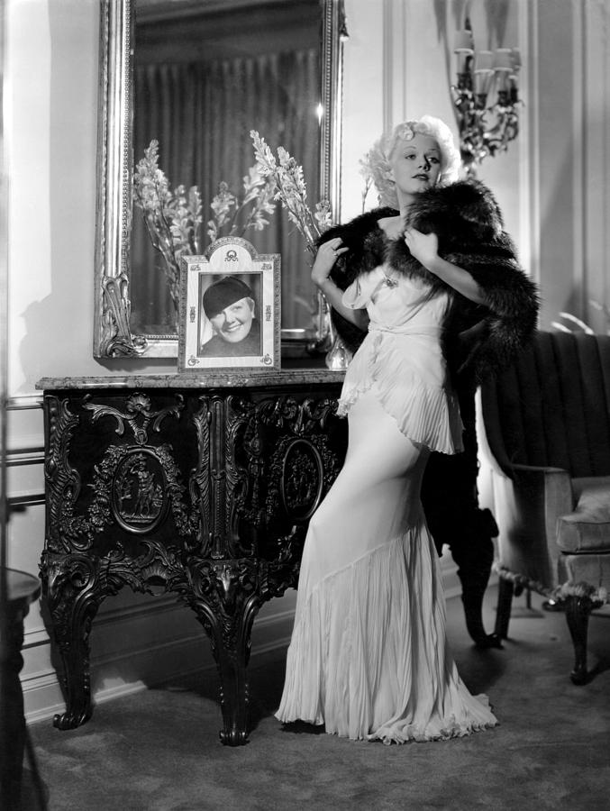 Jean Harlow With Photograph Photograph  - Jean Harlow With Photograph Fine Art Print