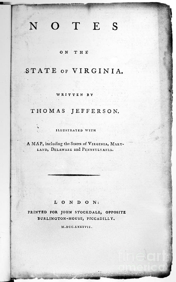 Jefferson: Title Page, 1787 Photograph  - Jefferson: Title Page, 1787 Fine Art Print