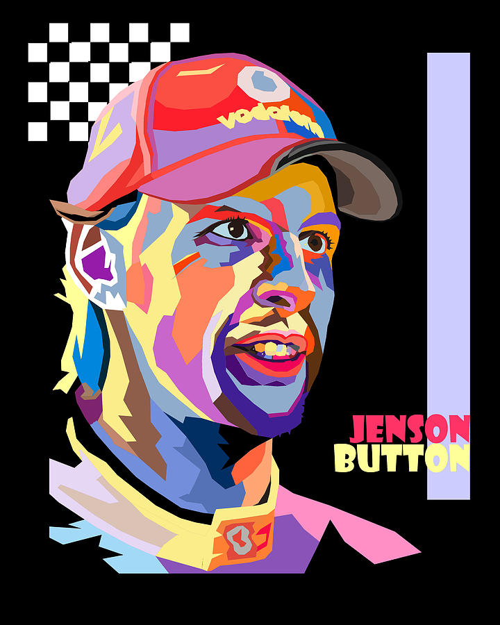 jenson button pop art style digital art by jim bryson. Black Bedroom Furniture Sets. Home Design Ideas