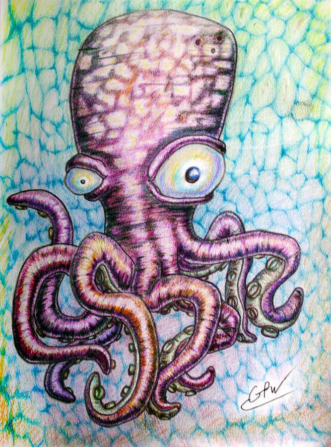 Jeri The Octopus Drawing By George Wagner