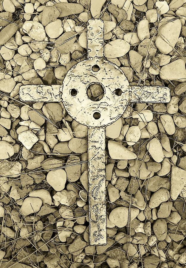 Jerusalem Cross In Sepia Tone Sculpture  - Jerusalem Cross In Sepia Tone Fine Art Print