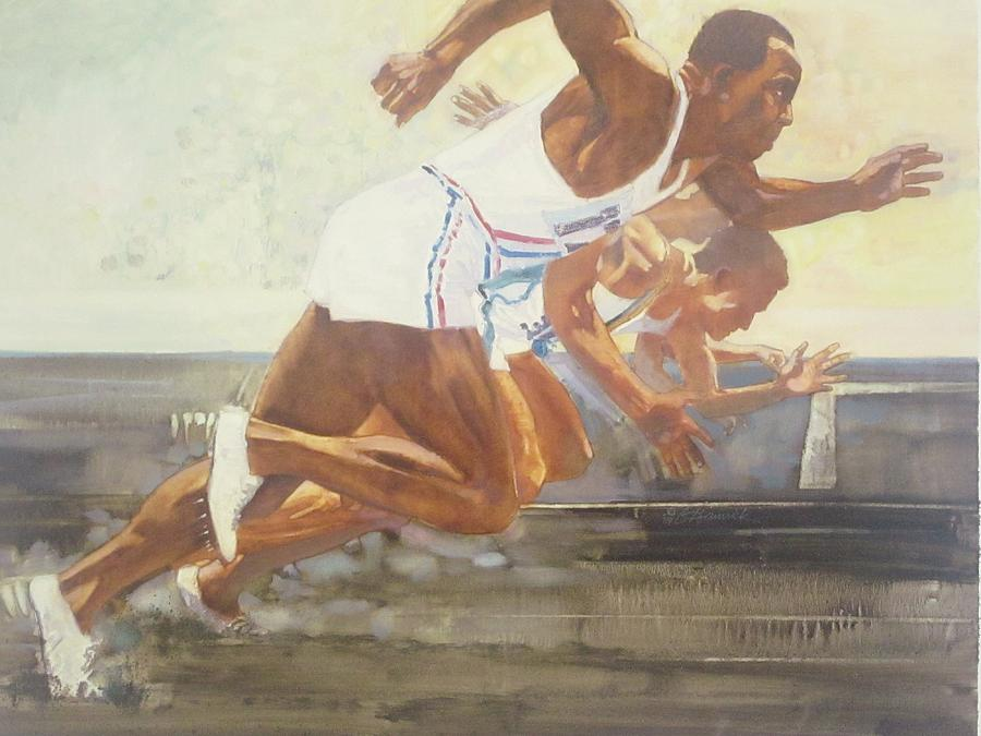 Jesse Owens 1936 Olympics Painting