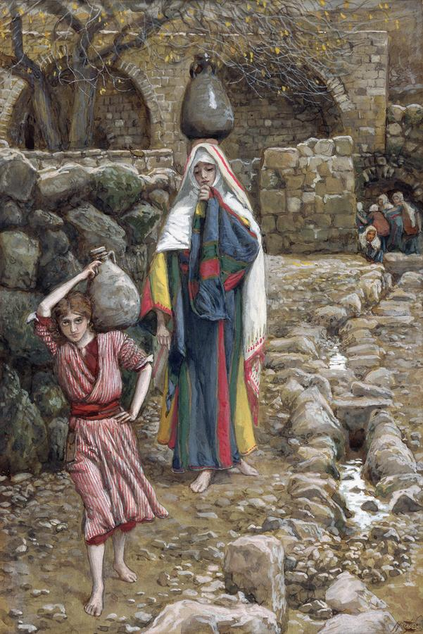 Jesus And His Mother At The Fountain Painting  - Jesus And His Mother At The Fountain Fine Art Print