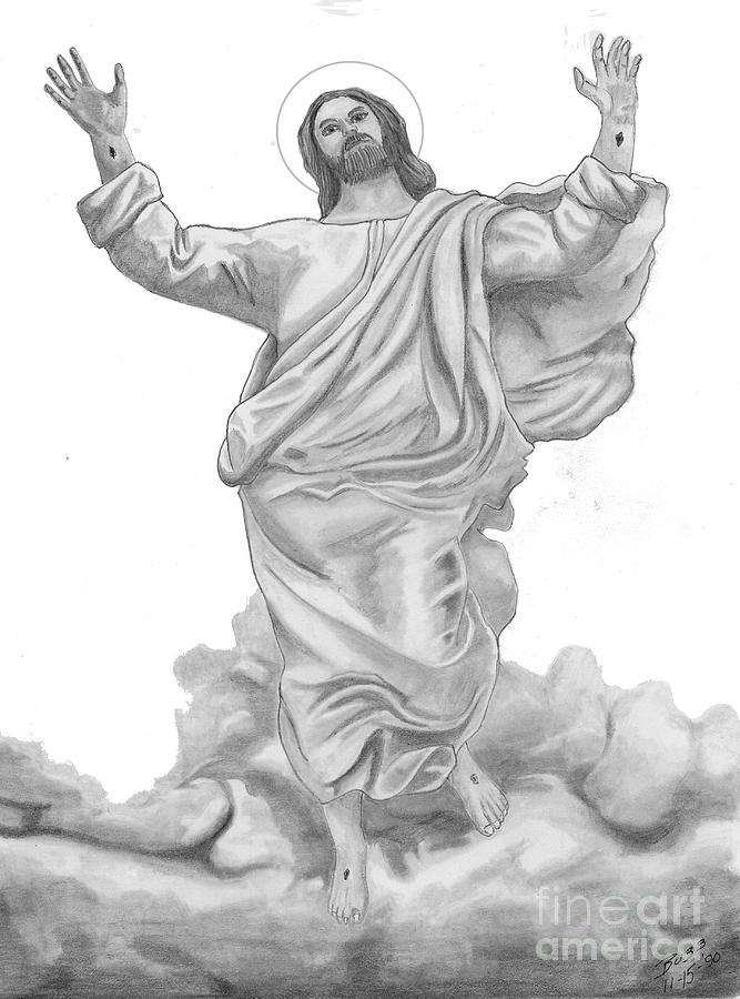 Jesus Approaches The Gates Of Heaven Drawing  - Jesus Approaches The Gates Of Heaven Fine Art Print